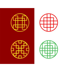 Set of circle chinese window frame art vector