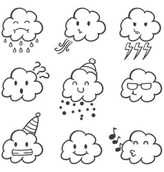 Set of cloud style doodles vector