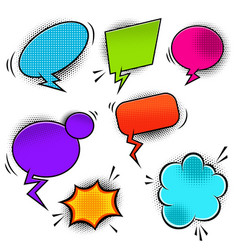 Set of empty comic style speech bubbles design vector