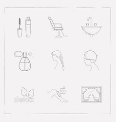 set of glamour icons line style symbols with vector image