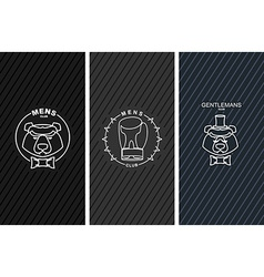 Set of logos for mens Club Bear and butterfly tie vector image