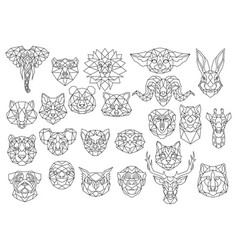 set polygonal animal portraits collection of vector image