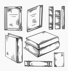 Set sketches various old books with shading vector