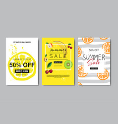set summer sale fruits lettering badge design vector image