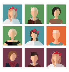 Short hairstyles female avatar icons set vector