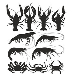 Silhouettes crabs shrimps and crayfish vector
