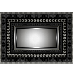 Silver frame with geometric ornament on black vector