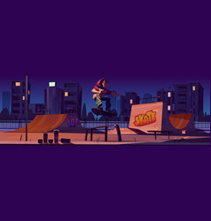 Skate park with boy riding on skateboard at night vector