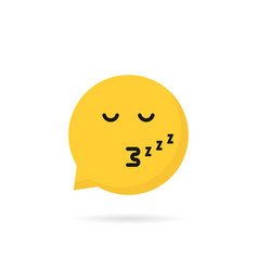 Sleeping emoji speech bubble logo vector