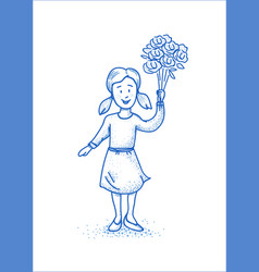 Small happy girl with flowers blue line vector