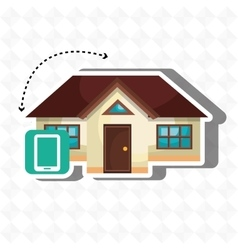 smart home with smartphone isolated icon design vector image