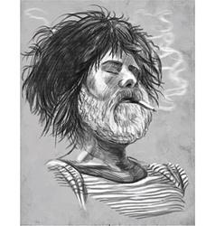 Smoking bearded smoker sailor - hand drawn vector