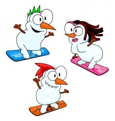 snowboarding snowmen vector image