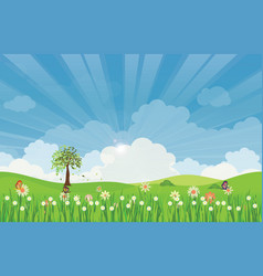 Spring summer meadow landscape with sun rays and vector
