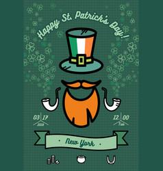 St patricks day poster flat green orange vector