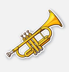 Sticker classical music wind instrument trumpet vector