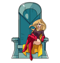 Superheroine on throne vector