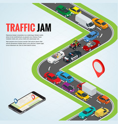 Traffic jam and road way location mobile gps vector