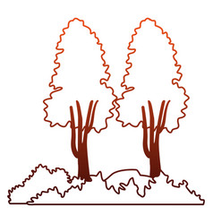 tree with bushes and rocks on red lines vector image