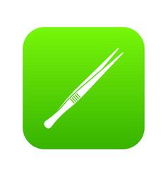 tweezers icon digital green vector image