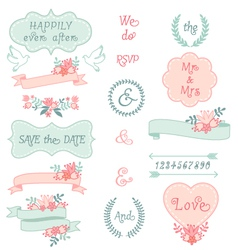 vintage wedding frames and ribbons set vector image