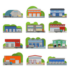 Warehouse storehouse depot storage facilities vector