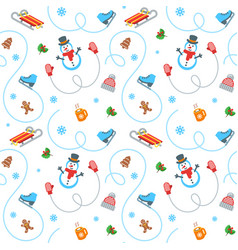 Winter holidays flat seamless pattern vector