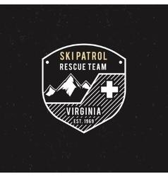 Winter ski patrol rescue team label vector