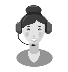 Woman consultant in headphones icon vector