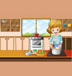 Woman cooking in kitchen vector