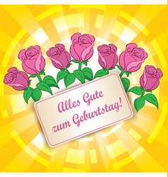 Yellow background with roses - alles gute zum vector