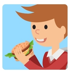 Boy eating sandwich on theme vector image vector image