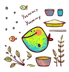 Cartoon Funny Fish Seafood Ingredients Card Design vector image vector image