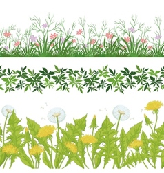 Flowers grass and leaves seamless set vector image