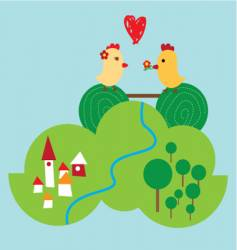 happy chickens vector image vector image