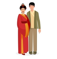 Japanese family Japan man and woman couple in vector image vector image