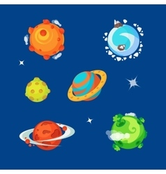 Set of various cartoony aliens planets is the vector