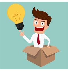 Businessman thinks out of the box and get idea vector image vector image