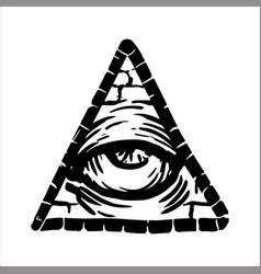 Hand drawn sketch of the illuminati symbol vector