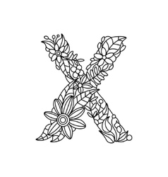 Letter X coloring book for adults vector image