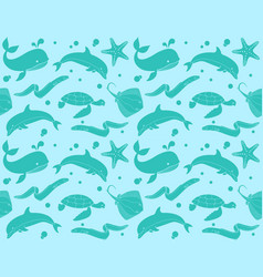 seamless pattern with fish and marine life vector image