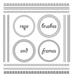The frameset and brush from marine rope vector image vector image