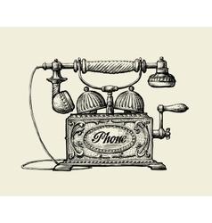 Vintage telephone Hand-drawn sketch retro phone vector image