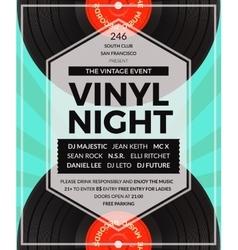 vintage vinyl LP DJ party poster vector image