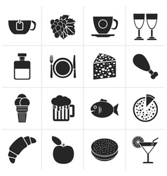 Black Food Drink and beverage icons vector image