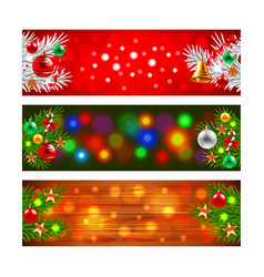 Christmas banners with decorated fir-tree branches vector image vector image