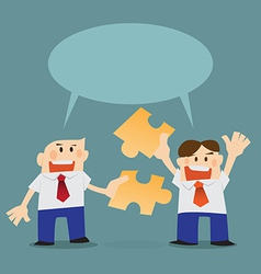 cooperate business concept as puzzle jigsaws team vector image
