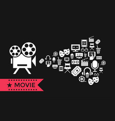 digital red white cinema icons vector image