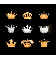 Gold and silver crowns icons set vector image vector image