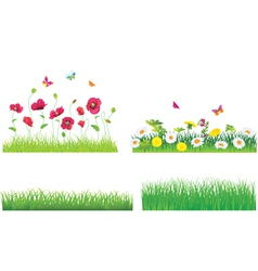 The Green Grass and Flowers Set vector image vector image
